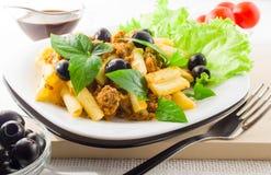 Italian pasta rigatoni with bolognese sauce Royalty Free Stock Photos