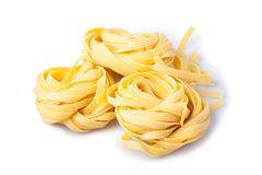 Italian pasta rolls. Three Italian pasta rolls isolated Royalty Free Stock Photography
