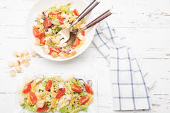 Italian pasta salad with tomatoes Royalty Free Stock Images