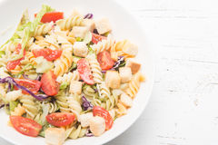 Italian pasta salad with tomatoes royalty free stock photos