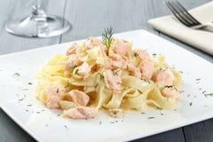 Italian pasta with salmon Royalty Free Stock Photos