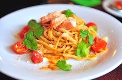 Italian pasta with salmon Stock Image