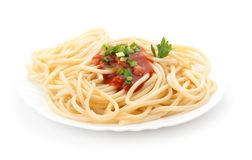 Italian pasta and sauce Royalty Free Stock Photography
