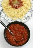 Italian pasta with sauce. Italian pasta with tomato sauce and cheese stock image