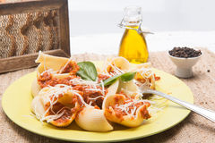 Italian pasta and sauce with meal Stock Photo