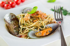 Italian pasta with sea fruit. Stock Image