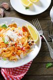Italian pasta with seafood and parmesan Stock Photography