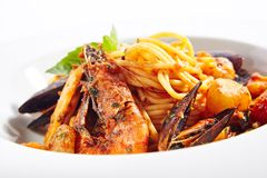 Italian Pasta with Seafood stock images