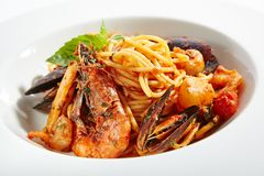 Italian Pasta with Seafood royalty free stock image