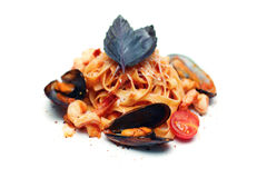 Italian Pasta with Seafood. Tagliatelle marinara Royalty Free Stock Images