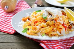 Italian pasta with seafoodon a plate Stock Photos