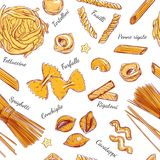 Italian Pasta seamless pattern Different types of pasta. Vector hand drawn illustration.  objects on white. Colorful. Royalty Free Stock Photos