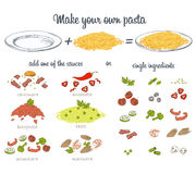 Italian pasta. Set. Ingredients for make your own spaghetti. Vector hand drawn food Stock Image