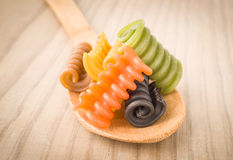 Italian pasta seven flavors Stock Images