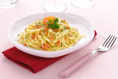 Italian pasta, smoked salmon fettuccine Stock Photo