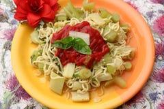 Italian Pasta. Some italian pasta with celery and chili Royalty Free Stock Photos
