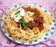 Italian Pasta. Some italian pasta with a sauce of minced meat Royalty Free Stock Photos