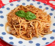 Italian Pasta. Some italian pasta with a sauce of minced meat Royalty Free Stock Photo