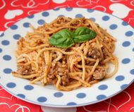 Italian Pasta. Some italian pasta with a sauce of minced meat Stock Photography
