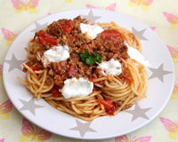 Italian Pasta. Some italian pasta with a sauce of minced meat and parmesan Stock Photo