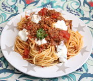 Italian Pasta. Some italian pasta with a sauce of minced meat and parmesan Stock Image