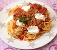Italian Pasta. Some italian pasta with a sauce of minced meat and parmesan Royalty Free Stock Photo