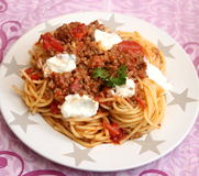Italian Pasta. Some italian pasta with a sauce of minced meat and parmesan Royalty Free Stock Image