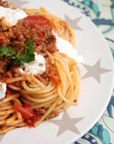 Italian Pasta. Some italian pasta with a sauce of minced meat and parmesan Stock Photos