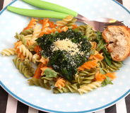 Italian Pasta. Some italian pasta with a sauce of spinach with parmesan Royalty Free Stock Photos