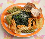 Italian Pasta. Some italian pasta with a sauce of spinach with parmesan Stock Image
