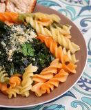 Italian pasta. Some italian pasta with a sauce of spinach with parmesan Stock Photo