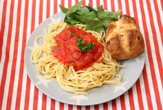 Italian Pasta. Some italian pasta with a sauce of tomatoes Royalty Free Stock Photography