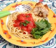 Italian pasta. Some italian pasta with a sauce of tomatoes Royalty Free Stock Photo