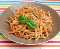 Italian pasta. Some italian pasta with a sauce of tomatoes and meat Stock Image