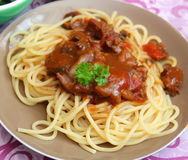 Italian pasta. Some italian pasta with a sauce of tomatoes with pork meat Stock Images