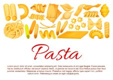 Vector Italian pasta sorts poster. Italian pasta sorts of traditional cuisine for macaroni, lasagna or spaghetti and fettuccine, ravioli or pappardelle and Royalty Free Stock Images