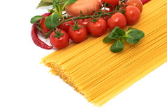Italian pasta spagetti with vegetables Royalty Free Stock Photos