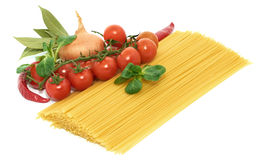 Italian pasta spagetti with vegetables Stock Photography