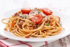 Italian Pasta - Spaghetti Bolognese On A Plate Stock Photo