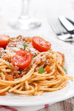 Italian pasta - spaghetti bolognese on a plate Royalty Free Stock Photography