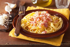Italian pasta spaghetti carbonara Royalty Free Stock Images