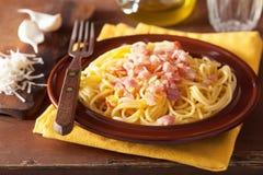 Italian pasta spaghetti carbonara Royalty Free Stock Images
