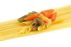 Italian pasta spaghetti and Penne rigate tricolore Stock Photography