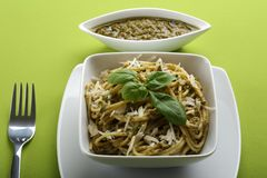 Italian pasta spaghetti with pesto Royalty Free Stock Photos