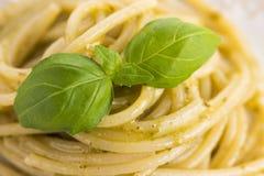 Italian pasta spaghetti with pesto sauce Stock Image
