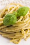 Italian pasta spaghetti with pesto sauce Royalty Free Stock Image