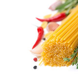 Italian pasta spaghetti, spices and herbs, selective focus Stock Photography