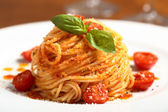 Italian pasta spaghetti with tomato sauce Stock Photo
