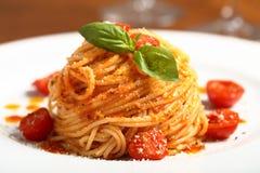 Italian pasta spaghetti with tomato sauce Stock Photo