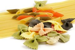 Italian pasta spaghetti, tricolore and farfalle Stock Photography